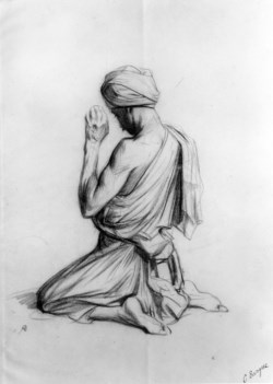 WALTERS: Charles Bargue (French, 1826-1883): Arab Kneeling in Prayer 1871
