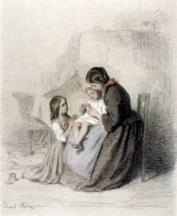 WALTERS: Pierre-Édouard Frère (French, 1819-1886): Interior with Woman Teaching Child to Pray 1819