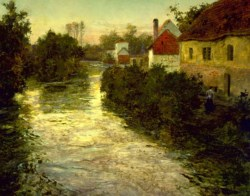 WALTERS: Frits Thaulow (Norwegian, 1847-1906): Village on the Bank of a Stream 1885