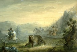 WALTERS: Alfred Jacob Miller (American, 1810-1874): Hunting The Bear 1858