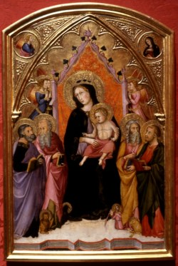 WALTERS: Andrea di Bartolo (Italian, active 1389-1428): Madonna and Child with the Four Evangelists 1388