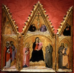 WALTERS: Master of the Panzano Triptych (Italian, active 14th century): Madonna and Child Enthroned with Saints 1368