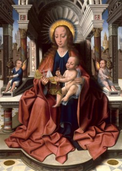 WALTERS: Master of Frankfurt (South Netherlandish, 1460-ca. 1533): Virgin and Child Enthroned 1503