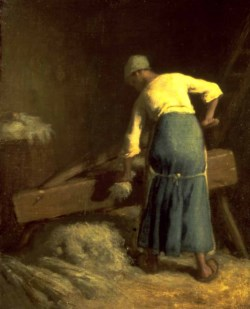 WALTERS: Jean-François Millet (French, 1814-1875): Breaking Flax 1850