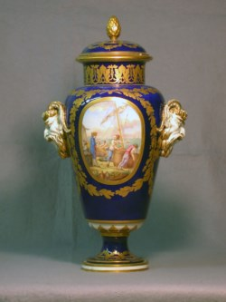 WALTERS: Sèvres Porcelain Manufactory (French, active 1756-present): One of a Pair of Vases (Vase à bandes) 1776