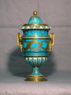 "WALTERS: Sèvres Porcelain Manufactory (French, active 1756-present): One of a Pair of Vases (Vase ""à anses Carrées) 1773"