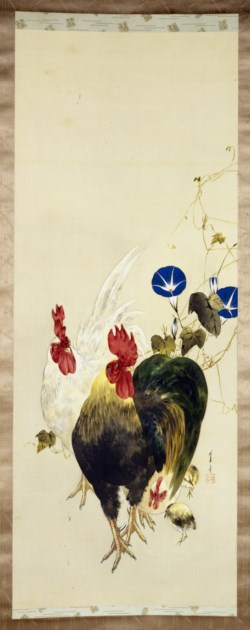 WALTERS: Watanabe Seitei (Japanese, 1851-1918): Roosters, Chicks, and Morning Glories 1878