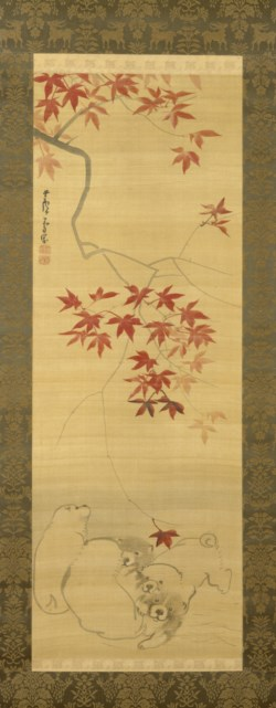 WALTERS: Nagasawa Rosetsu (Japanese, 1754 - 1799): Puppies Under a Maple Branch 1778