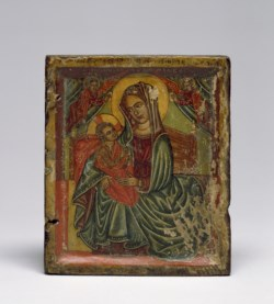WALTERS: Niccolò Brancaleon (Italian, active 1480-1521): Right Half of a Diptych with the Virgin and Child 1488