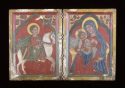 WALTERS: Ethiopian: Diptych Icon with Saint George, and Mary and the Infant Christ 1400