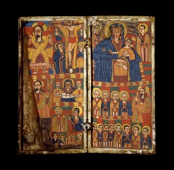 WALTERS: Ethiopian: Diptych with Virgin and Child Flanked by Archangels; Scenes from the Lives of Christ and the Virgin, and Saints 1675