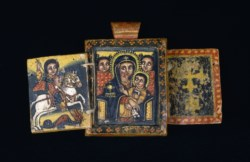 WALTERS: Ethiopian: Double-Sided Pendant with the Virgin and Child with Saint George and the Kwer'atä Reesu with Täklä Haymanot and donor 1775