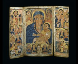 WALTERS: Ethiopian: Triptych with Virgin and Child Flanked by Archangels; Scenes from the Life of Christ; Apostles and Saint George and Saint Mercurius 1675
