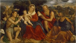WALTERS: Giovanni da Brescia (Italian, active by 1512, died 1531): The Holy Family with Saints John the Baptist and Jerome 1512