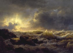 WALTERS: Andreas Achenbach (German, 1815-1910): Clearing Up--Coast of Sicily 1847