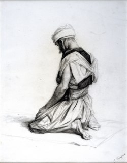 WALTERS: Charles Bargue (French, 1826-1883): Arab Kneeling in Prayer 1863