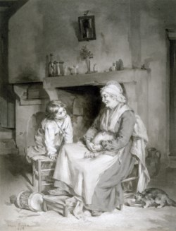 WALTERS: Paul Constant Soyer (French, 1823-1903): Interior with Old Woman and Boy 1862