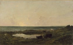 WALTERS: Charles François Daubigny (French, 1817-1878): Sunset on the Coast at Villerville 1853