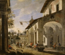 WALTERS: Viviano Codazzi (Italian, ca. 1604-1670): Courtyard of an Inn with Classical Ruins 1609
