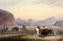 WALTERS: Alfred Jacob Miller (American, 1810-1874): Buffalo Hunting, near Independence Rock 1858