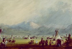 WALTERS: Alfred Jacob Miller (American, 1810-1874): Large Encampment Nr the Cut Rocks 1858
