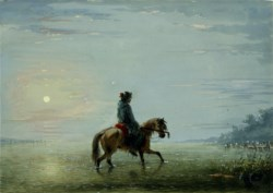 WALTERS: Alfred Jacob Miller (American, 1810-1874): Crossing The River - Trapper Trying Its Depth 1858