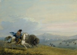 WALTERS: Alfred Jacob Miller (American, 1810-1874): Pawnee Running Buffalo 1858
