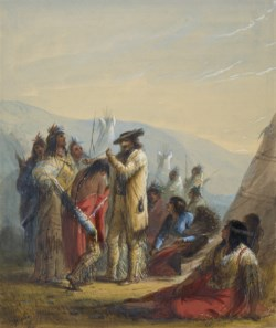 WALTERS: Alfred Jacob Miller (American, 1810-1874): Presents to Indians 1858