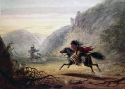 "WALTERS: Alfred Jacob Miller (American, 1810-1874): Snake Indian Pursuing ""Crow"" Horse Thief 1858"