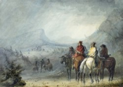WALTERS: Alfred Jacob Miller (American, 1810-1874): Storm: Waiting for the Caravan 1858