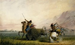 WALTERS: Alfred Jacob Miller (American, 1810-1874): Killing Buffalo with the Lance 1858
