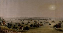 "WALTERS: Alfred Jacob Miller (American, 1810-1874): A ""Surround"" of Buffalo by Indians 1858"