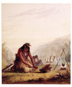 WALTERS: Alfred Jacob Miller (American, 1810-1874): Shosohonee [sic] Indian Preparing His Meal 1858