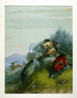 WALTERS: Alfred Jacob Miller (American, 1810-1874): Hunting Elk among the Black Hills 1858