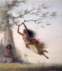 WALTERS: Alfred Jacob Miller (American, 1810-1874): Indian Girls, Swinging 1858