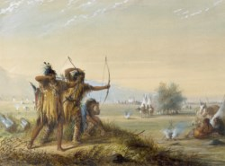 WALTERS: Alfred Jacob Miller (American, 1810-1874): Snake Indians - Testing Bows 1858