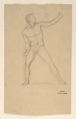 WALTERS: Antoine-Louis Barye (French, 1795-1875): Sketch after an Antique Statue of an Athlete 1800