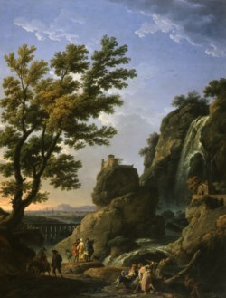 WALTERS: Claude-Joseph Vernet (French, 1714-1789): Landscape with Waterfall and Figures 1768