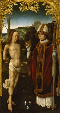 WALTERS: Attributed to the Master of the Virgo inter Virgines (North Netherlandish, active ca. 1483-1498): Saint Sebastian and a Bishop Saint 1480