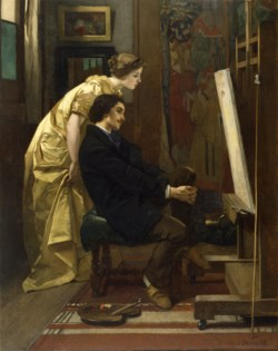 WALTERS: Alfred Stevens (Belgian, 1823-1906): The Painter and His Model 1855