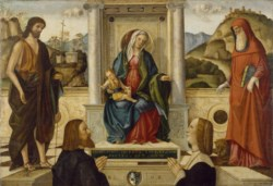 WALTERS: Vittore Carpaccio (Italian, ca. 1460-ca. 1526): Madonna and Child Enthroned with Saints and Donor 1507