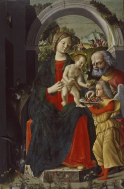 WALTERS: Baldassare Carrari (Italian, ca. 1460-ca. 1520) (?): The Holy Family with an Angel 1473