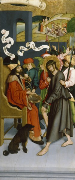 WALTERS: Bernhard Strigel (German, 1460-1528): Pilate Washing His Hands of Guilt for Christ's Death 1495