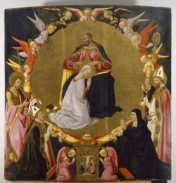 WALTERS: Neri di Bicci (Italian, 1418-1492): The Coronation of the Virgin with Angels and Four Saints 1458