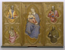 WALTERS: Olivuccio di Ciccarello da Camerino (Italian, ca. 1365-1439): Madonna and Child with Saints Peter, Paul, John the Baptist, and Francis 1398