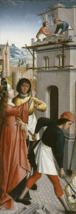 WALTERS: Master of the Joseph Sequence (South Netherlandish, active ca. 1495-1500): St. Barbara Directing the Construction of a Third Window in Her Tower 1470