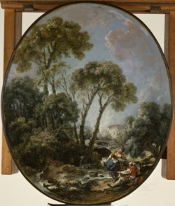 WALTERS: François Boucher (French, 1703-1770): Landscape with Fisherman and a Young Woman 1769