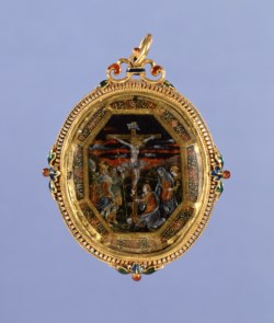 WALTERS: Venetian: Pendant with Painting of the Crucifixation 1538