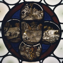 WALTERS: Workshop of Veit Hirshvogel the elder (German, 1461-1525): Stained Glass Quatrefoil Roundel with Hunting Scenes 1506