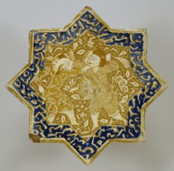 WALTERS: Iranian: Star Tile with Combat Scene 1250